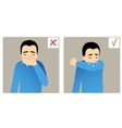 Two images with boy sneezing in hand and elbow vector image