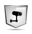 surveillance camera symbol icon shield steel vector image