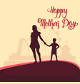 happy mother day silhouette woman with child vector image