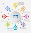 infographic template with workspace icons vector image