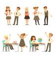 cute pupils in grey school uniform having fun at vector image