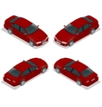 Red Sedan Car Flat isometric high quality city vector image