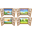 Four nature scenes through the window vector image vector image