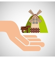 farm countryside hand holding design vector image