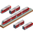 isometric train tracks and modern high speed train vector image