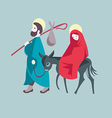 Mary and Joseph flee to Egypt vector image