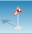 road sign roadworks isometric vector image