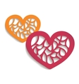 Two paper hearts for your design vector image