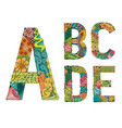 unusual colorfull alphabet doodle style letters on vector image