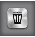 Trash can icon - metal app button vector image vector image