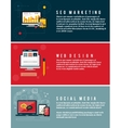 Icons for web design seo social media vector image