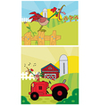 Cartoon rooster on a farm vector image