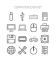 Set of simple icons for computer web tablet vector image