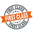 first class round orange grungy vintage isolated vector image