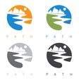 abstract mountains and river labels set vector image