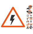 electricity shock warning icon with valentine vector image