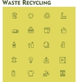 Linear waste recycling icon set vector image