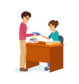 man receives books and information material vector image