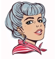 Portrait of pretty young woman with pin up style vector image