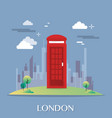 red telephone box in london design vector image