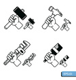 Hand tools icon set vector image