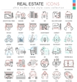 Real estates color line outline icons for vector image