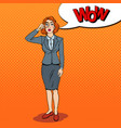 pop art amazed business woman with magnifier vector image