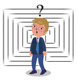 confused businessman with labyrinth vector image vector image