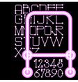 pink neon alphabet numbers vector image