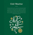 cold weather let it snow inscription on green vector image