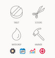 scissors hammer and tablet icons vector image