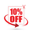 ten per cent off scissors sign vector image