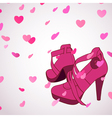 Female shoes background vector image