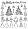 Christmas tree setBallsletteringBlack vector image
