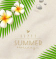 Tropical flowers and palm tree branches vector image