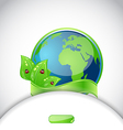 Green earth with leaves and ladybugs background vector image