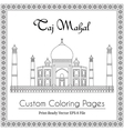 Taj Mahal Temple Coloring Book vector image vector image