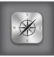 Compass icon - metal app button vector image