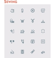 Linear sewing icon set vector image