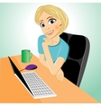 business woman at table with laptop vector image vector image