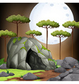 Nature scene of cave on fullmoon night vector image