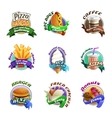 Fastfood Cartoon Colorful Emblems Set vector image