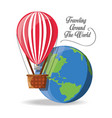balloon fly with earth planet vector image