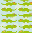 Funny green iguana Seamless pattern with cute vector image
