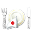 Plate Fork Knife with Japan Flag vector image
