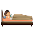 A boy sleeping with an alarm clock vector image vector image