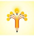 Light-bulbs hands make pencil vector image vector image