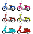 Six colourful scooters vector image