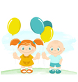 Happy kids with toy balloons vector image