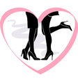 kiss lesbian couple in the frame of the heart vector image
